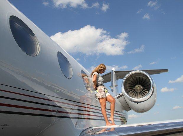 Beyonce on a private jet