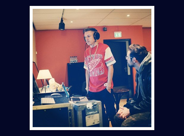 Macklemore and Ryan Lewis in recording studio