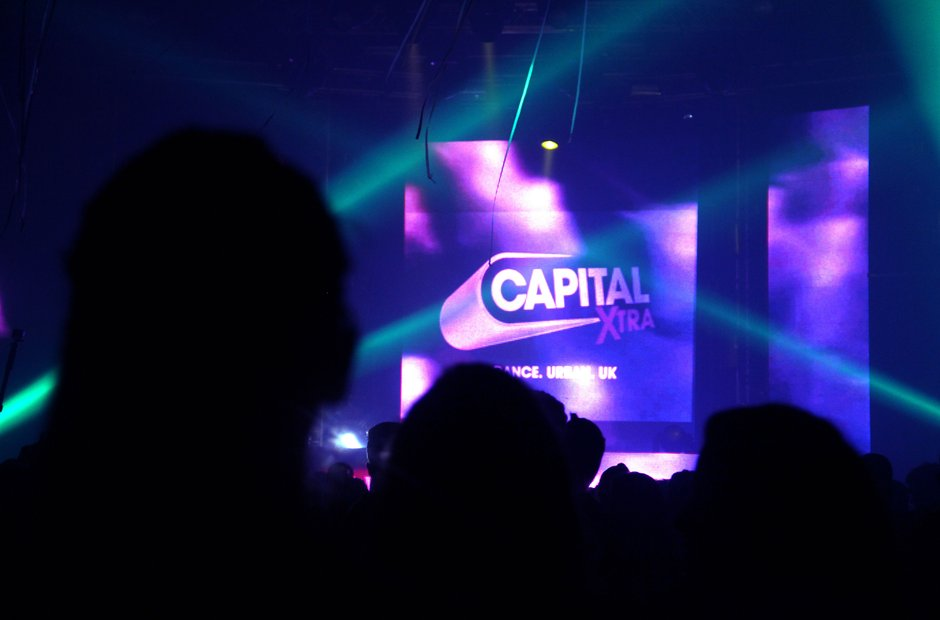 Capital XTRA branding at the Victoria Warehouse