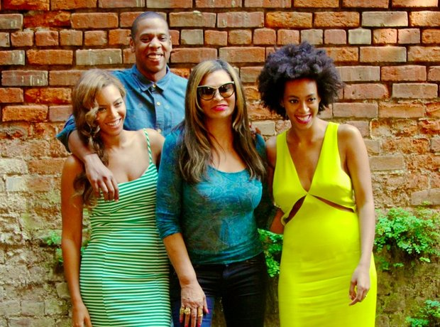 Beyonce & Solange with Jay Z and Tina Knowles