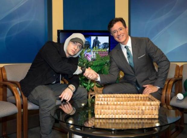 Eminem with Stephen Colbert