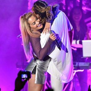 Rita Ora and Wiz Khalifa Hug Onstage