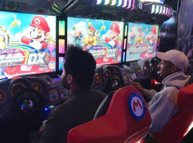 The Weeknd spent some time off playing Mario Kart.